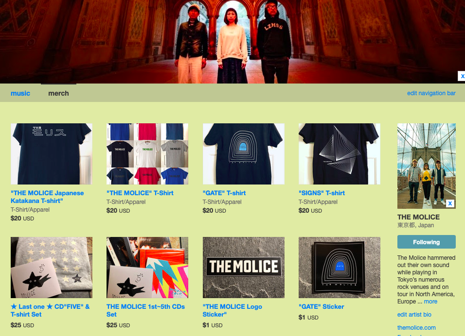 THE MOLICE shop page